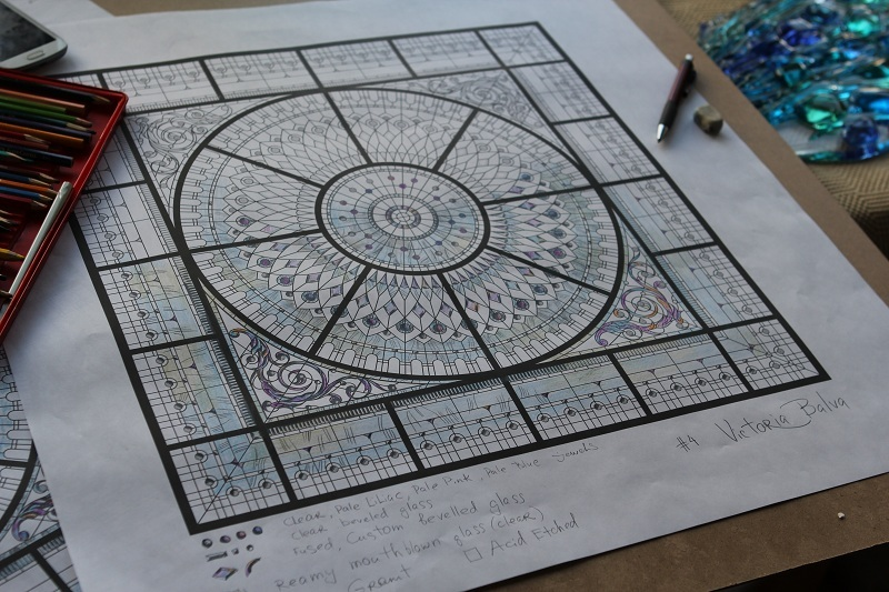 stained and leaded glass dome design development with colored bevelled glass and crystal oleg cassini paperweights